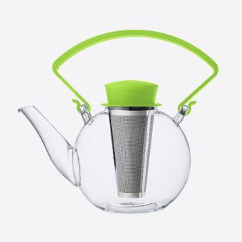 QDO theepot uit glas met clip handvat Tea 4 U groen 1L