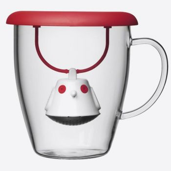 QDO thee infuser met mok uit glas Birdie Swing Nest rood 400ml