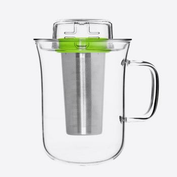 QDO Me Cup thee infuser met mok uit glas groen 400ml