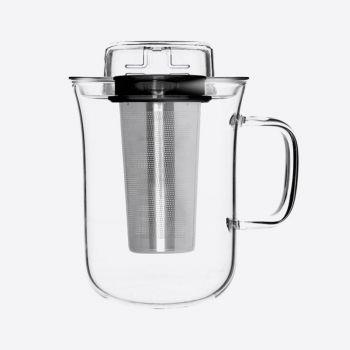 QDO Me Cup thee infuser met mok uit glas zwart 400ml