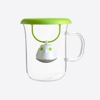 QDO thee infuser met mok uit glas Birdie Swing Nest groen 400ml
