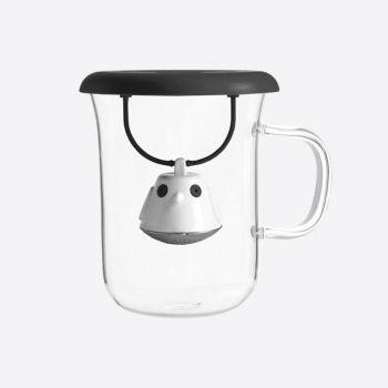 QDO thee infuser met mok uit glas Birdie Swing Nest zwart 400ml