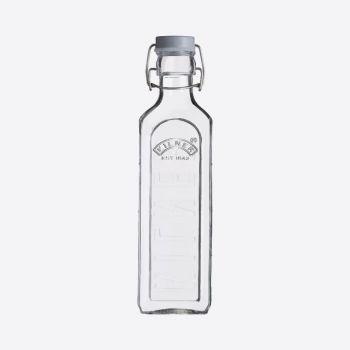 Kilner vierkante glazen fles met grijze beugelsluiting 600ml
