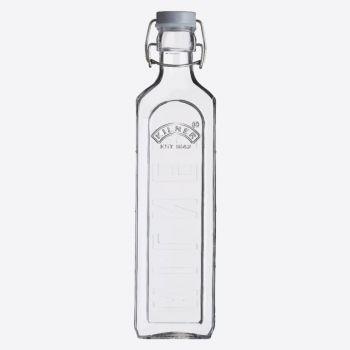 Kilner vierkante glazen fles met grijze beugelsluiting 1L