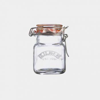 Kilner vierkant glazen kruidenpotje met beugelsluiting 70ml (12st./disp.)