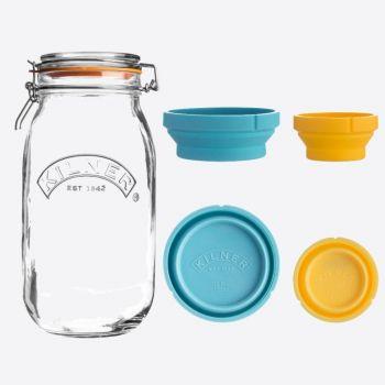 Kilner set van glazen voorraadbokaal 2L en 2 silicone maatbekers 60 & 125ml