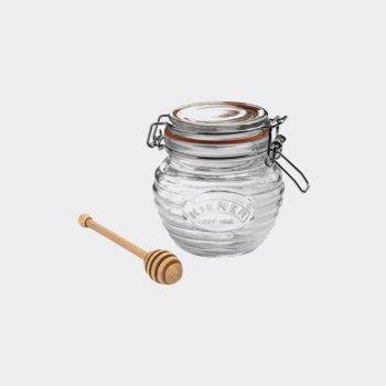 Kilner glazen honingpot met houten honinglepel in cadeauverpakking 400ml