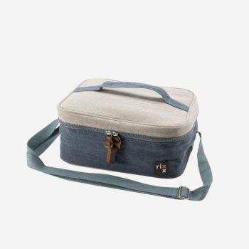 Rixx rechthoekige koeltas met draagriem donkerblauw en grijs 27x21x12cm