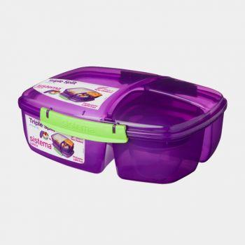 Sistema Trends Lunch lunchbox Triple Split met yoghurtpotje 2L (4 ass.)