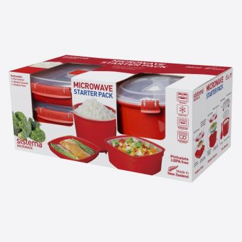 Sistema Microwave starterspakket met bord med - stomer & rijstkoker (per 4st.)