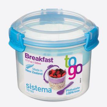Sistema To Go ontbijtkom met onderverdeling blauw 530ml (per 12st.)