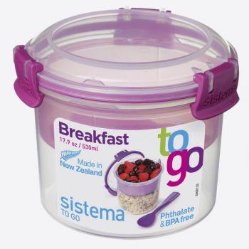 Sistema To Go ontbijtkom met onderverdeling roze 530ml (per 12st.)