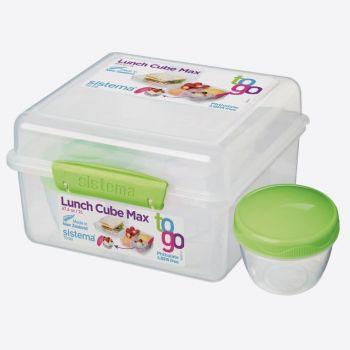 Sistema To Go lunchbox Cube Max met yoghurtpotje limoengroen 2L (per 6st.)