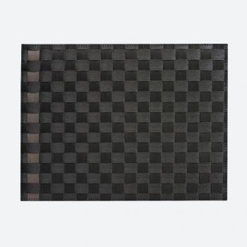 Saleen breed geweven placemat uit kunststof zwart en taupe 30x40cm