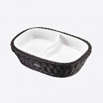 Saleen rechthoekige gevlochten mand uit kunststof met schaal zwart 22.5x16.5cm