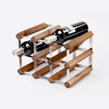 Traditional Wine Rack Co. wijnrek voor 9 flessen donkere eik 32.4x22.8x22.8cm