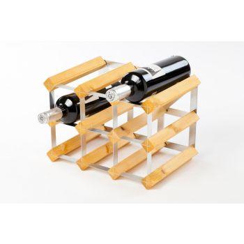 Traditional Wine Rack Co. wijnrek voor 9 flessen lichte eik 32.4x22.8x22.8cm