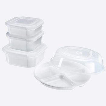 Westmark 5-delige set voor magnetron voorraaddozen; bord en deksel uit kunststof wit