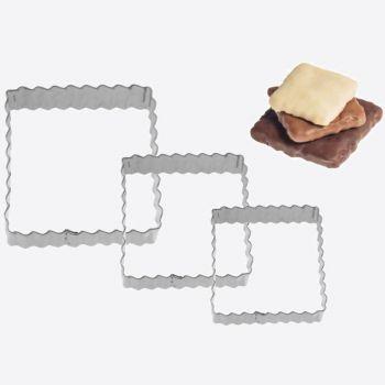 Westmark set van 3 uitsteekvormen uit rvs geribd vierkant 4; 5 en 6cm