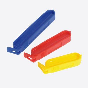 Westmark set van 10 vershoudclips uit kunststof geel; rood en blauw 6; 8 en 10 cm