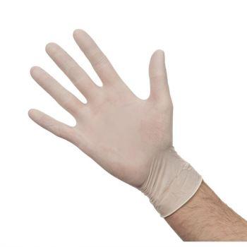 Latex handschoenen wit gepoederd M