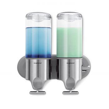 Simplehuman Zeepdispenser Wand Duo - RVS - 22.6x9.4x24.5 cm - Zilver