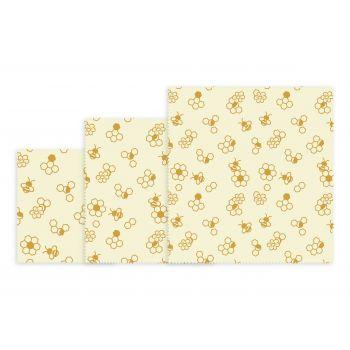Bee's Wax Wrap Honingraat Design - Katoen/Wax - Set van 3 Stuks - Geel