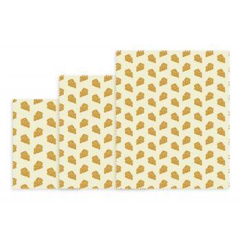 Bee's Wax Kaas Wrap - Katoen/Wax - Set van 3 Stuks - Geel