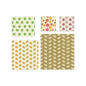 Bee's Wax Wrap All-in - Katoen/Wax - Set van 5 Stuks - Geel/Multi Color