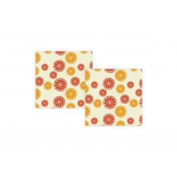 Bee's Wax Citrus Wrap - Katoen/Wax - Set van 2 Stuks - Geel/Multi Color