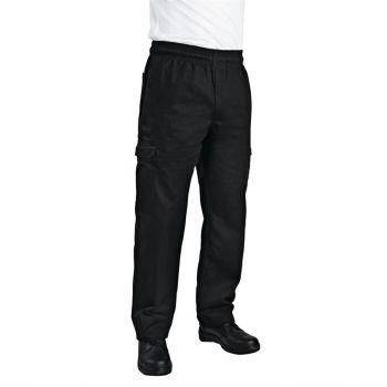 Chef Works unisex slim fit cargo broek zwart XXL