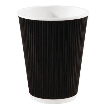 Fiesta koffiebekers met geribbelde wand zwart 34cl