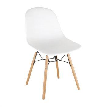 Bolero Arlo polypropyleen stoelen met houten poten wit