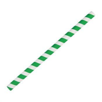 Fiesta Green groen/wit gestreepte papieren smoothierietjes 21cm