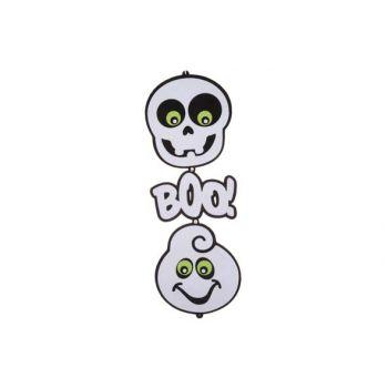 Cosy @ Home Hangdeco Doodskop Boo Spook Zw Wit 75cm