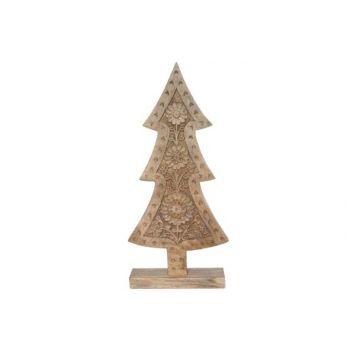 Cosy @ Home Kerstboom Gravure Natuur Hout 20x6x40cm