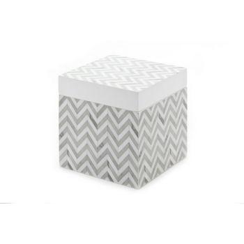 Cosy @ Home Doos Zigzag Grijs-wit 10x10x10cm