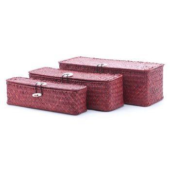 Cosy & Trendy Set3 Rieten Mandje Rechthoekig Rood