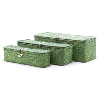 Cosy & Trendy Set3 Rieten Mandje Rechthoekig Groen