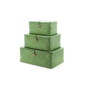 Cosy & Trendy Set3 Rieten Mandje Balk Groen 35.5x23x13