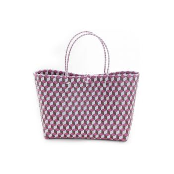 Cosy @ Home Tas Trendy Wit Roze Paars 36x15x50cm