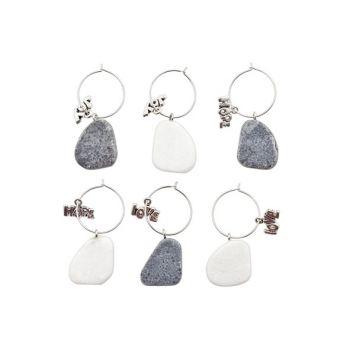 Cosy @ Home Glasmarkeerder Stone Grijs-wit Set6