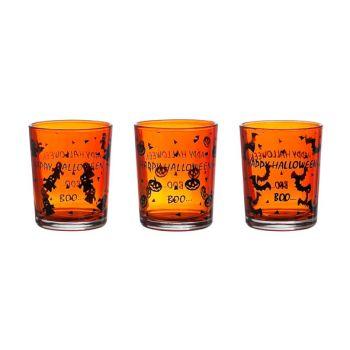 Cosy @ Home Theelichtglas Halloween 3 Types Oranje
