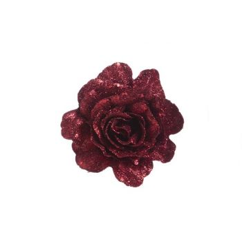 Cosy @ Home Roos Clip Glitter Kersenrood D10cm