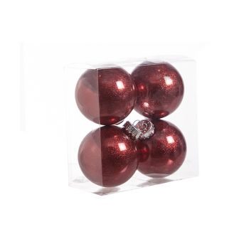 Cosy @ Home Kerstbal Set4 Twinkle Rood D8cm