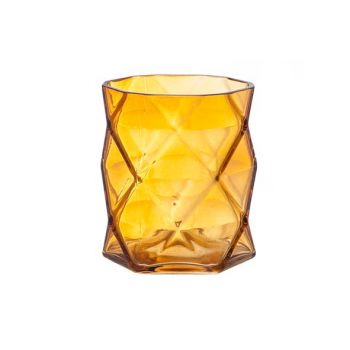 Cosy @ Home T-lichth Geometrisch Oranje 8x8x9cm