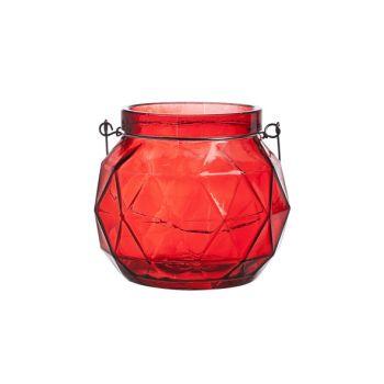 Cosy @ Home Lantaarn Geometr Glas Rood 12.3x12x10.5