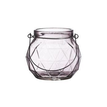Cosy @ Home Lantaarn Geometr Glas Mauve 12.3x12x10.5