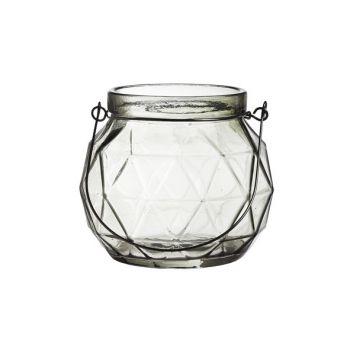 Cosy @ Home Lantaarn Geometr Glas Grijs 12.3x12x10.5