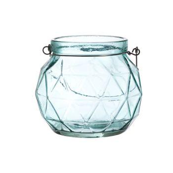 Cosy @ Home Lantaarn Geometr Glas Aqua 12.3x12x10.5